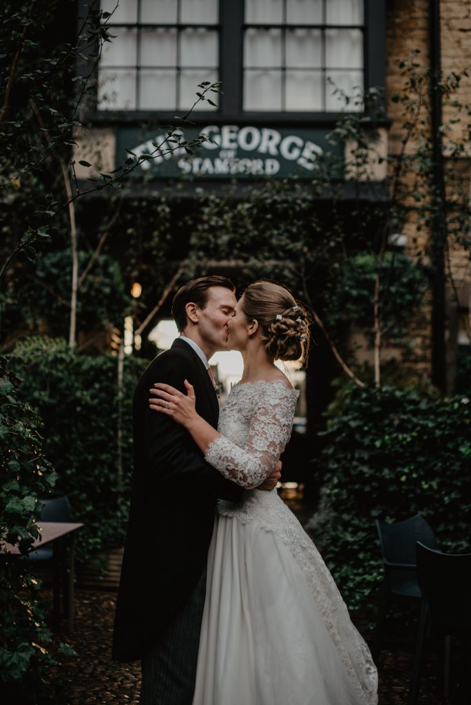 Wedding photo by Leeds wedding photographer Olivia Johnston Photography, Bride wearing Emma Victoria Payne wedding dress, mini wedding at the George in Stamford, Bride and groom by Yorkshire wedding photographer, mini wedding, microwedding